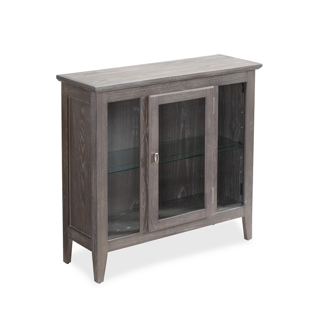 Gray Entryway Curio Cabinet with Interior Light - Leick Home 10000-GR