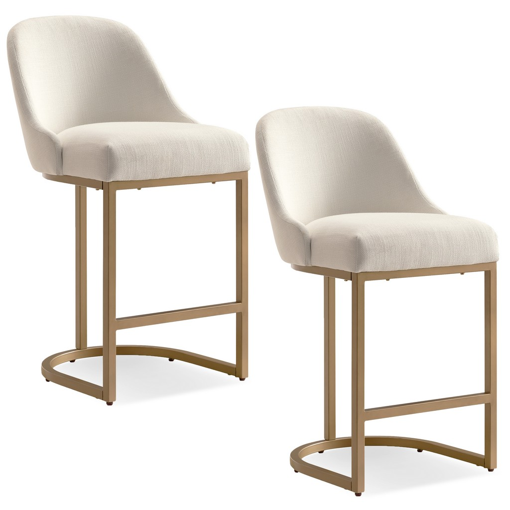 Barrelback White Counter Stool with Gold Metal Base, Set of 2 - Leick Home 10132GD/WT