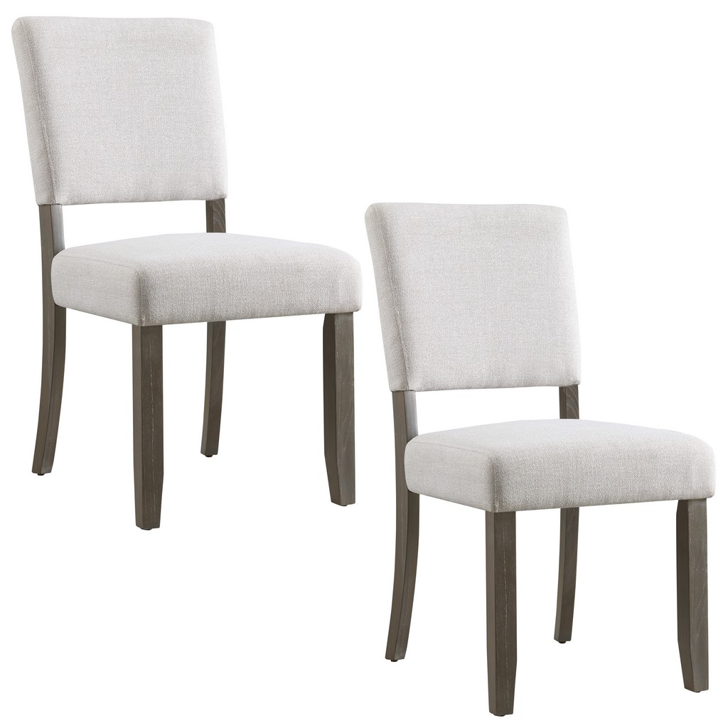 Wood Upholstered Back Dining Chair with Heather Gray Seat, Set of 2 - Leick Home 10186BB/HG