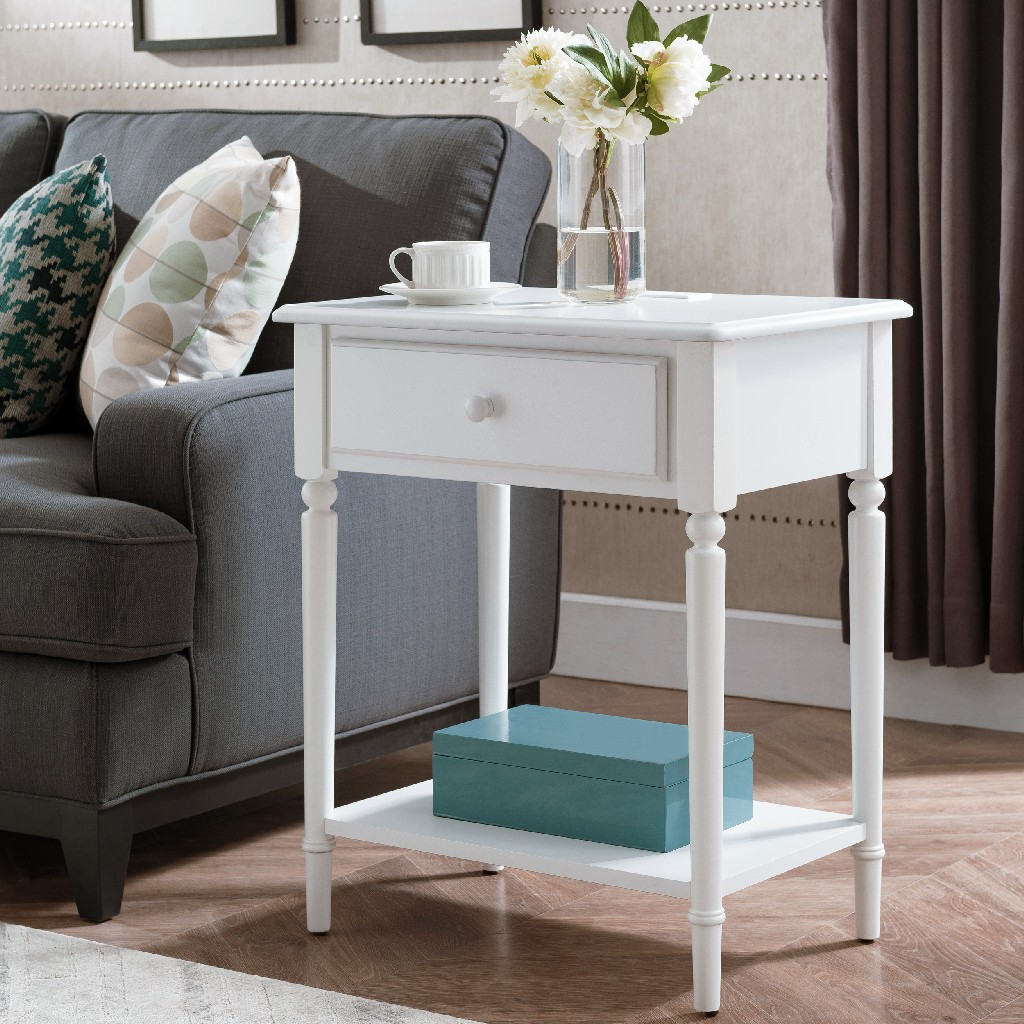 Coastal Notions Orchid White Coastal Nightstand/Side Table w/ AC/USB Charger - Leick 20022-WT