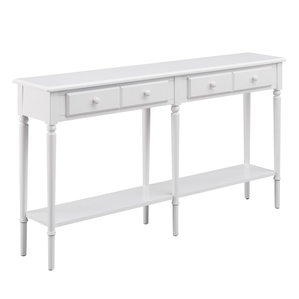 Orchid White Coastal Double Hall Console/Sofa Table with Display Shelf - Leick Home 20028-WT
