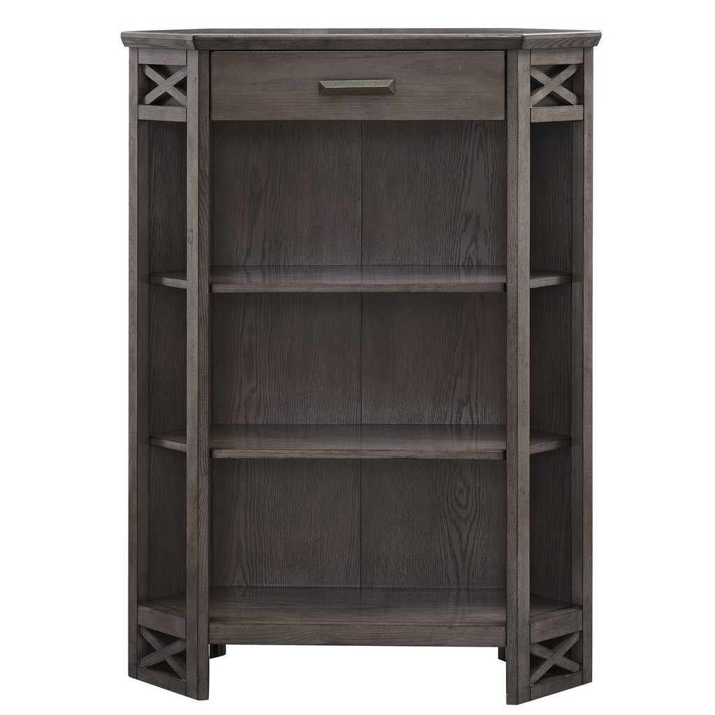 Gray Oak Mantel Height 3-Shelf Corner Bookcase with Drawer Storage - Leick Home 84263