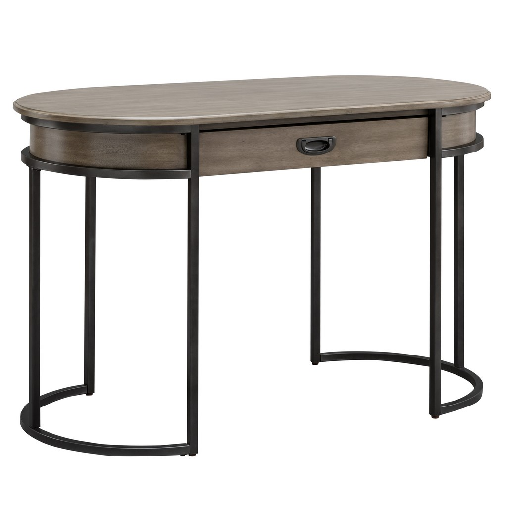 Gray Oval Metal Leg Desk - Leick Home 84405