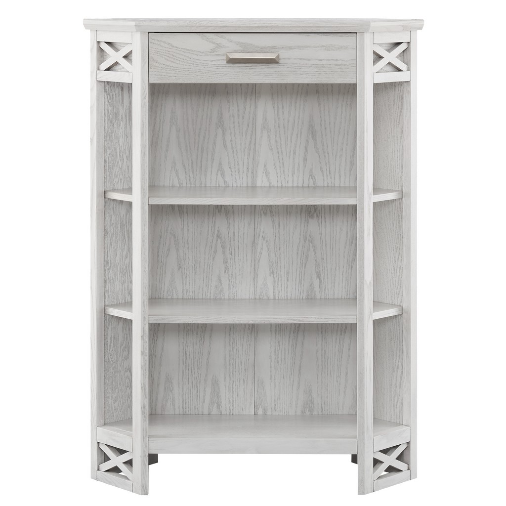 Weathered White Mantel Height 3-Shelf Corner Bookcase with Drawer Storage - Leick Home 85263