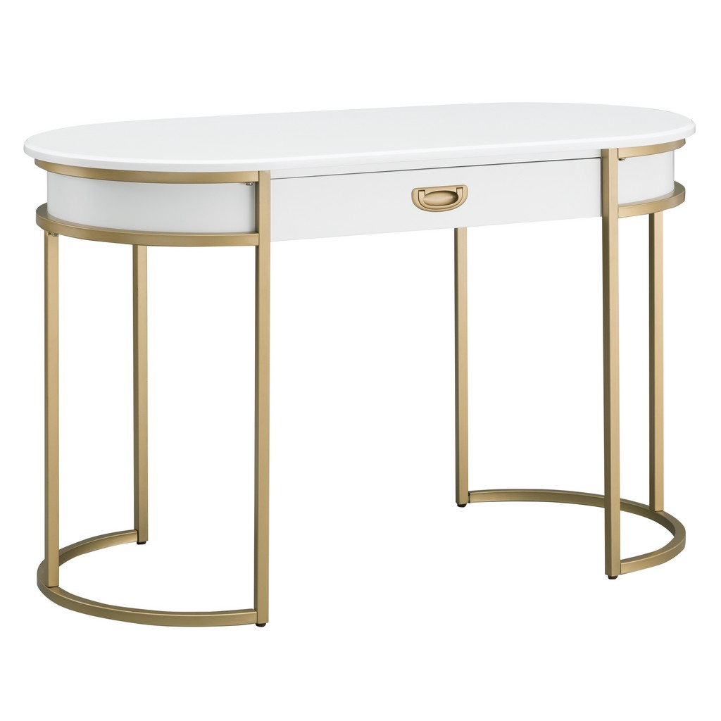 White Oval Metal Leg Desk - Leick Home 85405