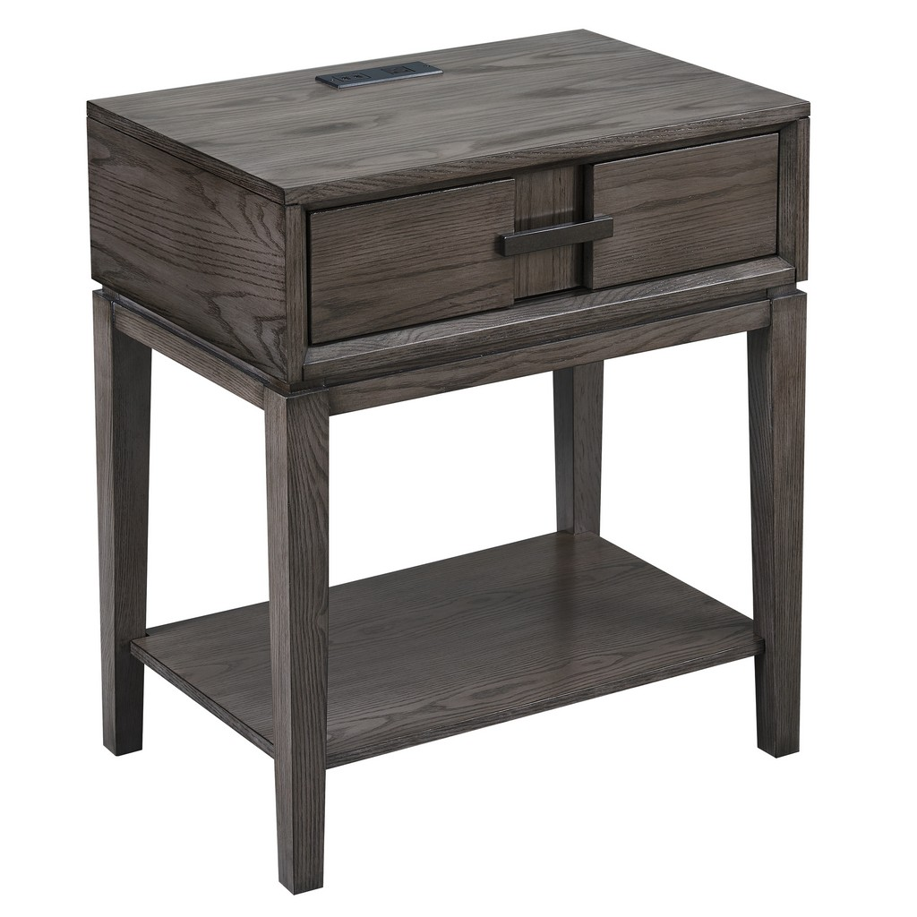 Oak Recessed Drawer Nightstand/Side Table with Top AC/USB Charger - Leick Home 9074