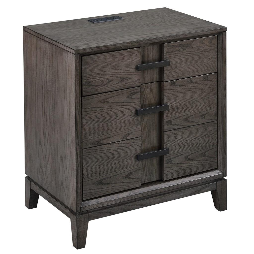 Oak Recessed Top Drawer and Bottom Door Nightstand/Side Table with Top AC/USB Charger - Leick Home 9075
