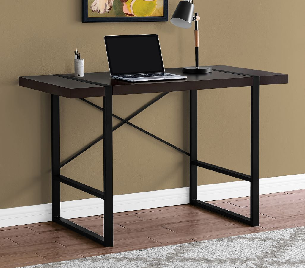 "48"" Computer Desk in Cappuccino / Black Metal - Monarch Specialties I-7311"