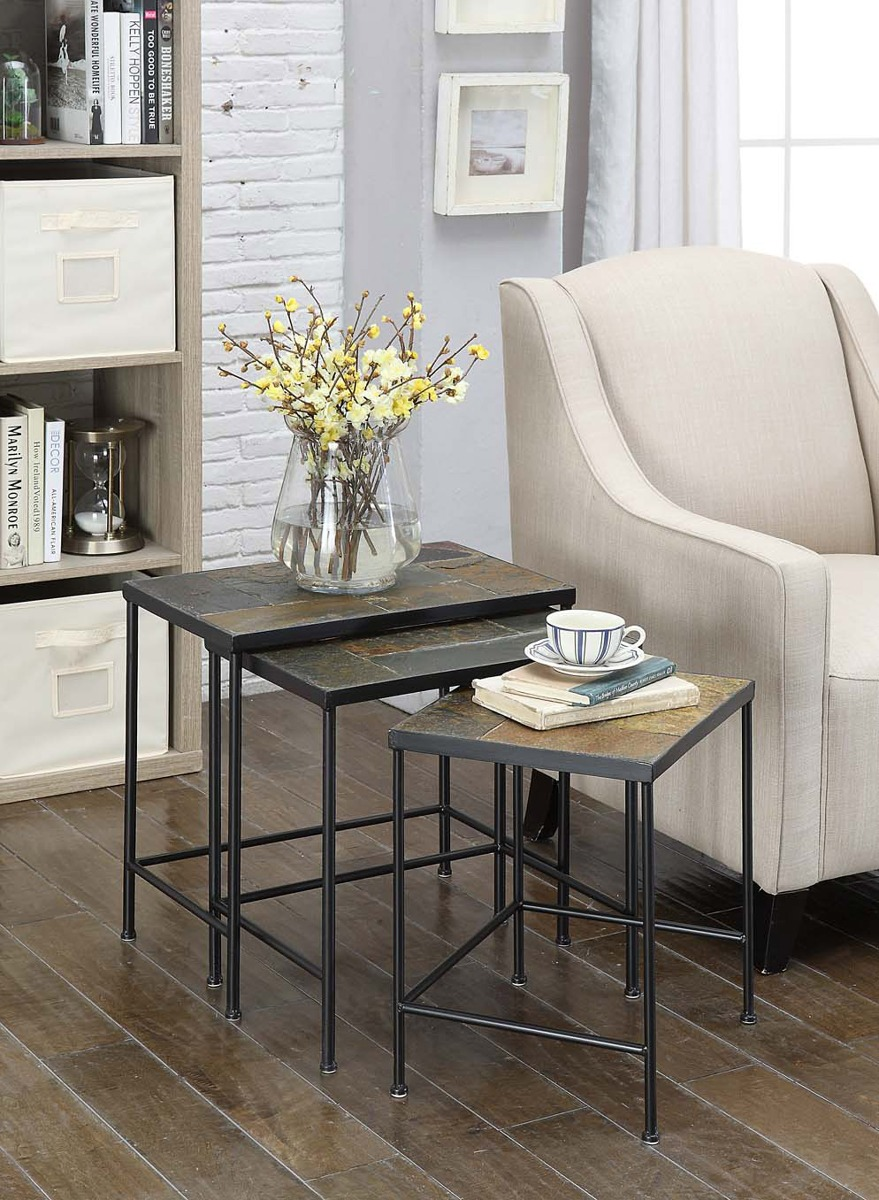 3-PC Nesting Table Set w/ Slate Tops - 4D Concepts 601609