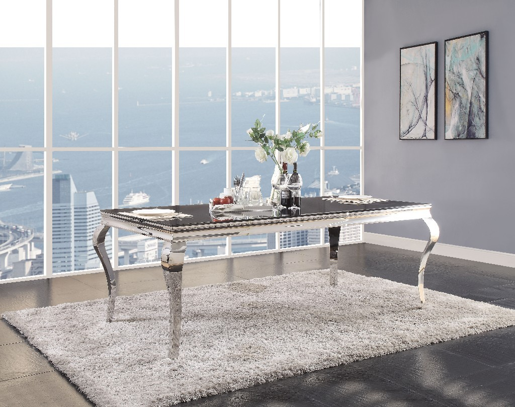 Acme Fabiola Dining Table Stainless Steel Black Glass