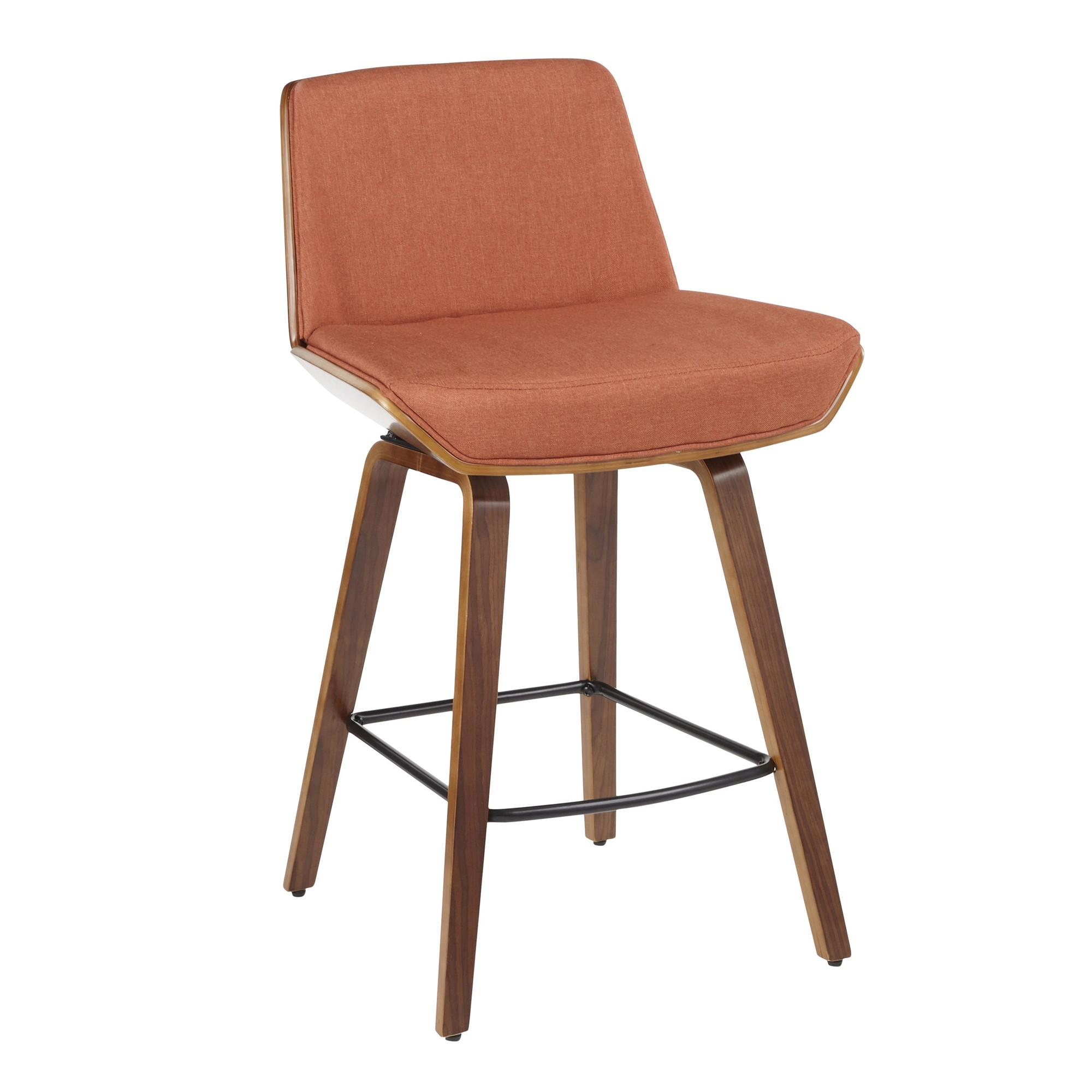 Walnut | Fabric | Orange | Modern | Stool | Wood