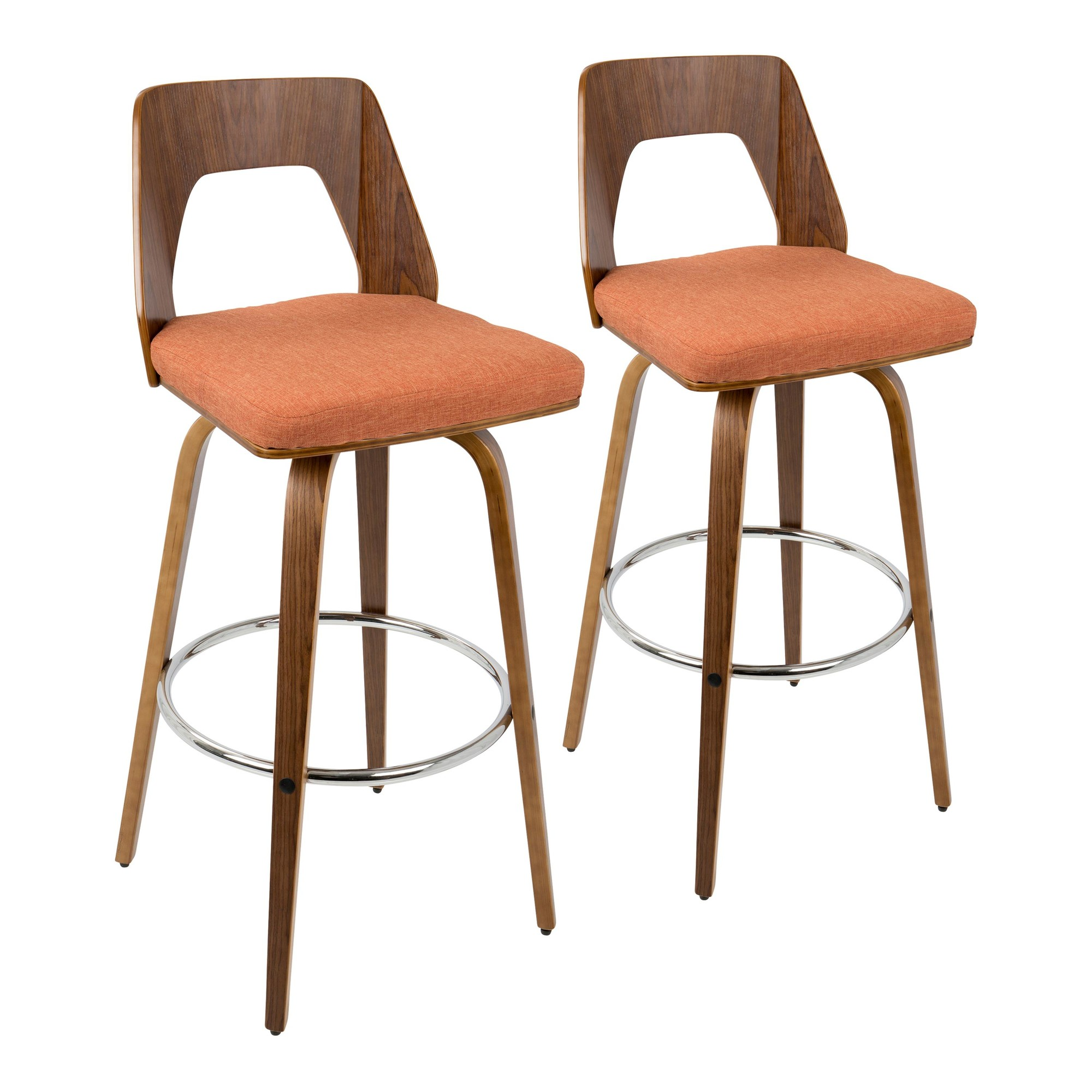 Barstool | Walnut | Fabric | Orange | Modern | Set