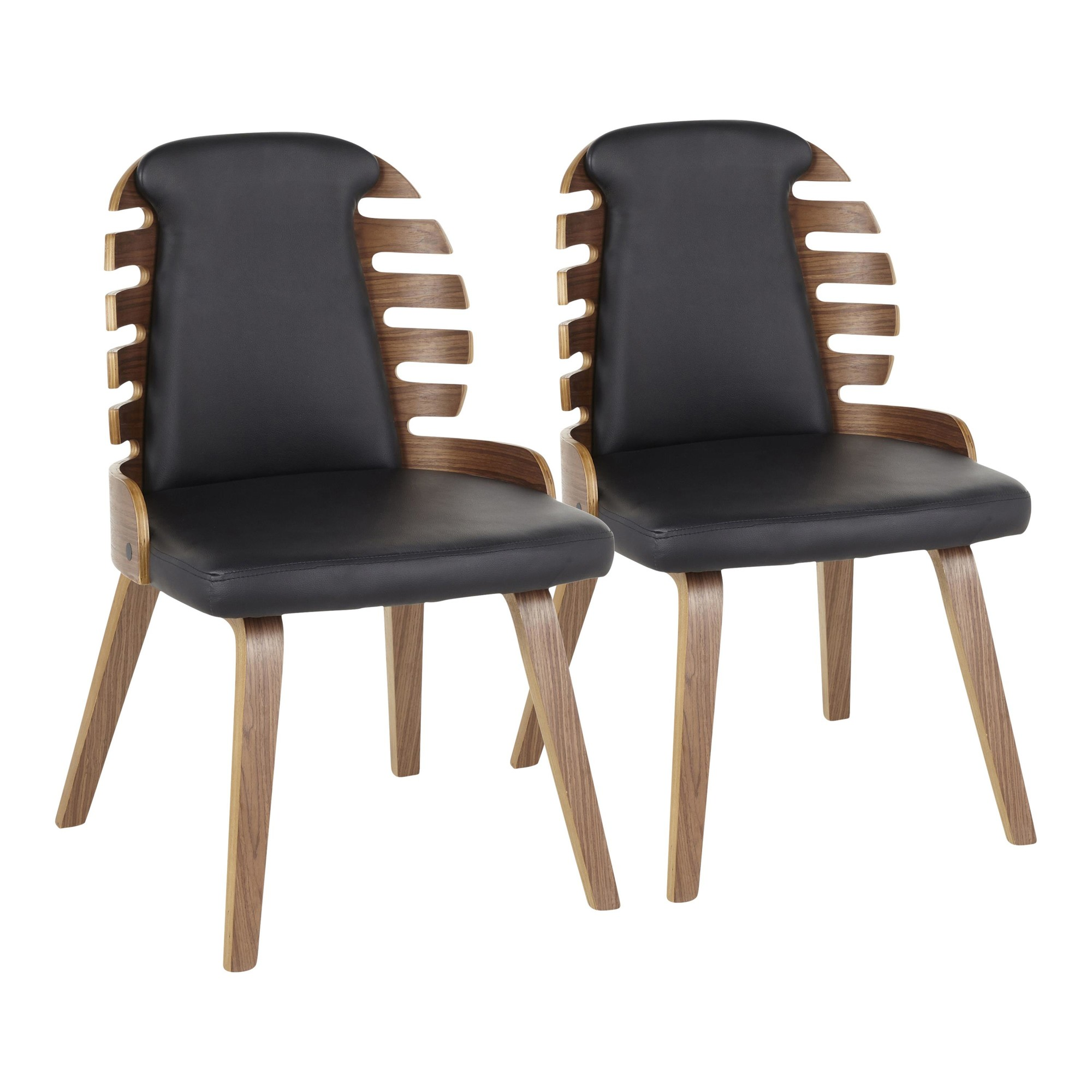 Image of: Palm Mid Century Modern Dining Chair In Walnut Wood Black Faux Leather Set Of 2 Lumisource Dc Palm Wlbk2