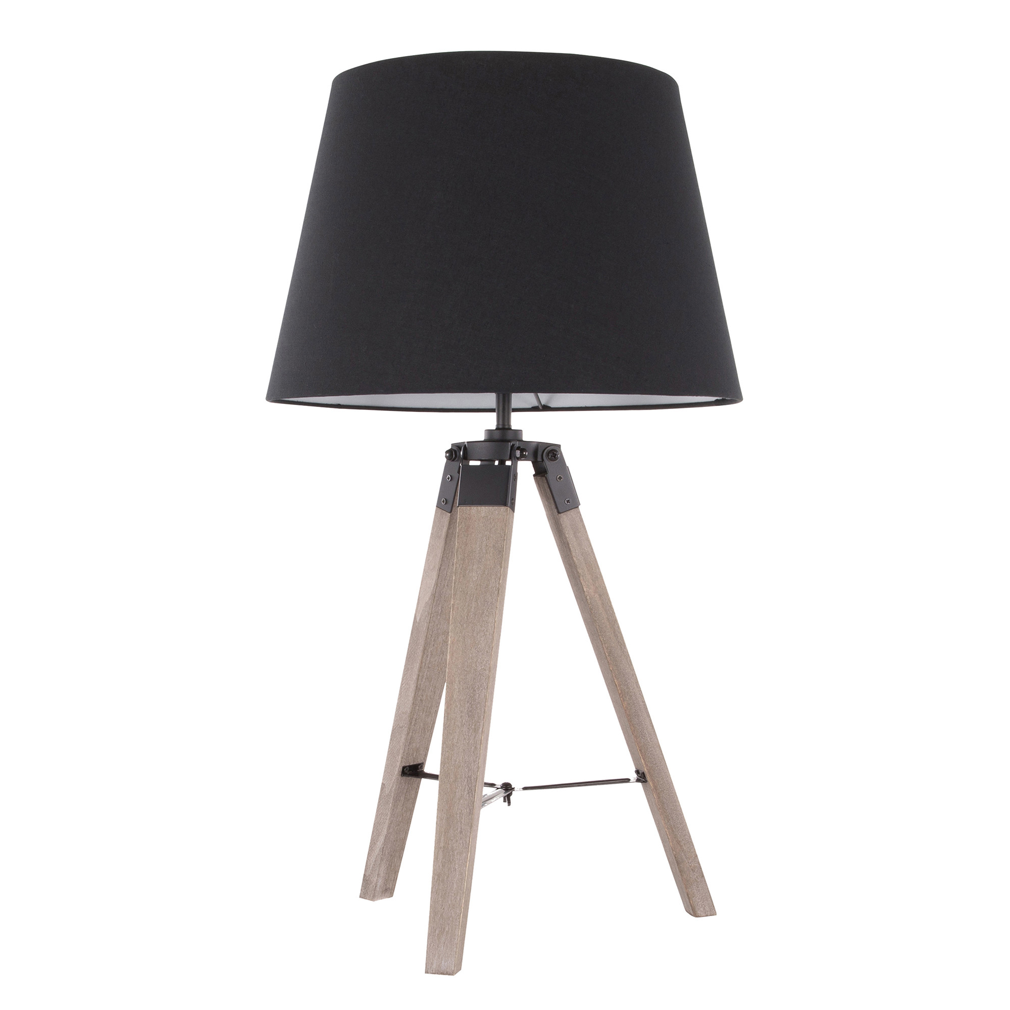 Compass   Modern   Shade   Table   Black   Wood   Lamp   Grey