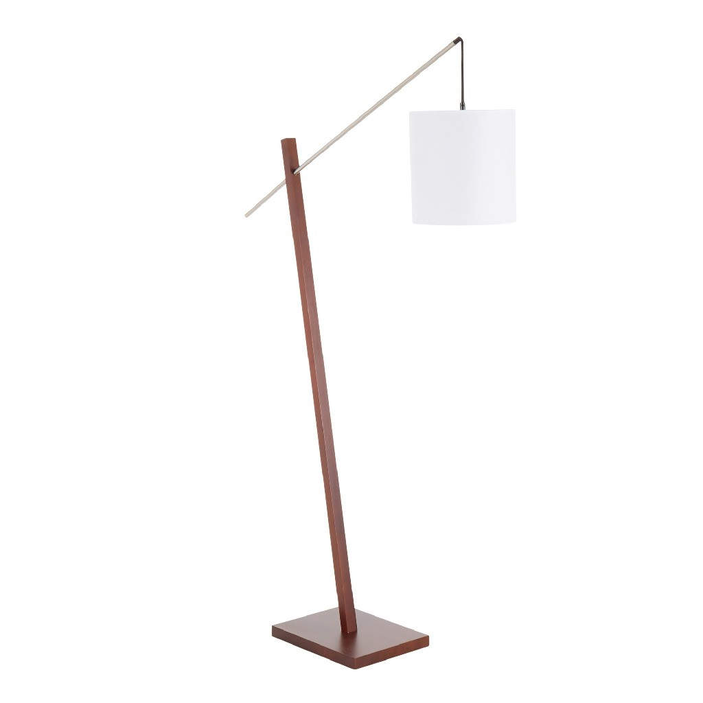 Arturo Contemporary Floor Lamp in Walnut Wood & White Fabric Shade - LumiSource LS-ARTUROFL WLW