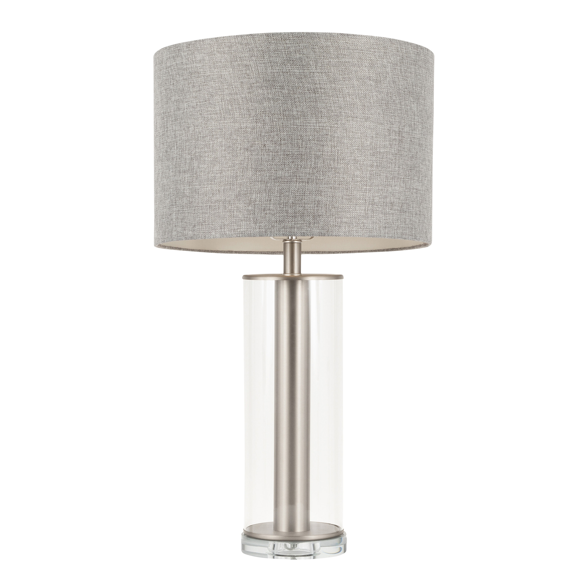 Glacier Contemporary Table Lamp In Brushed Nickel Metal Glass Base W Grey Linen Shade Lumisource Ls Glcrtb Gy