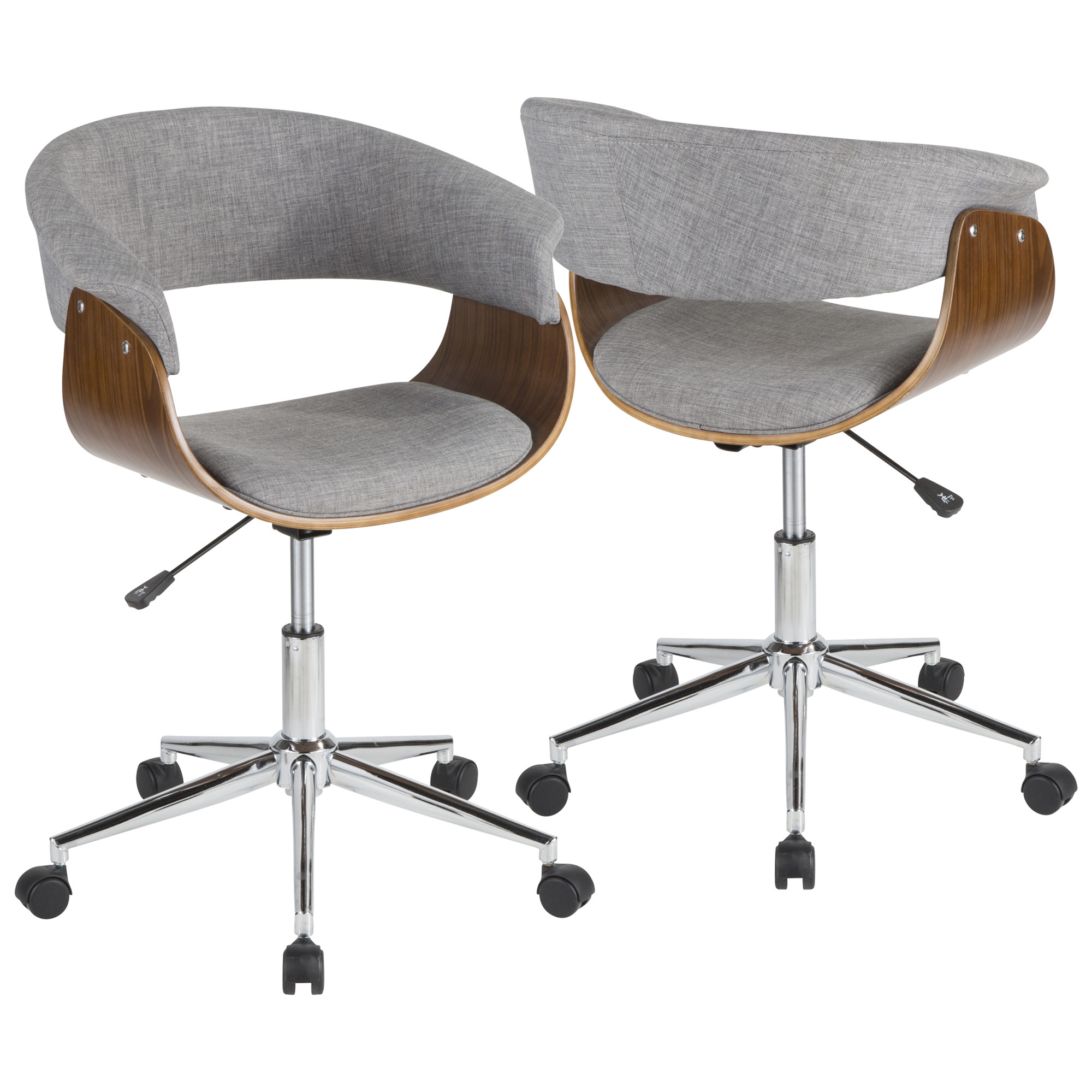 Vintage Mod Mid Century Modern Office Chair in Walnut Wood Light