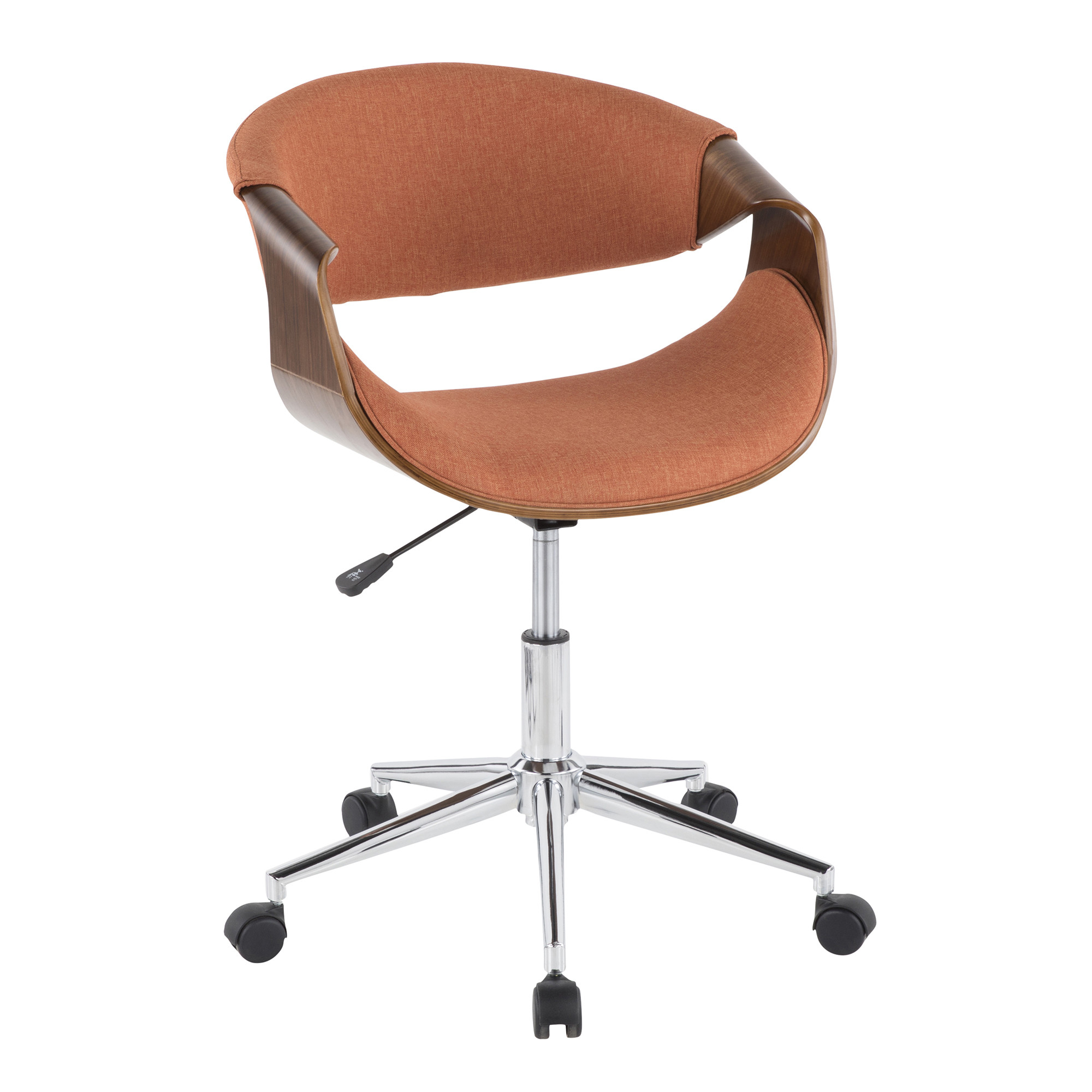 Walnut | Office | Fabric | Orange | Modern | Chair | Wood