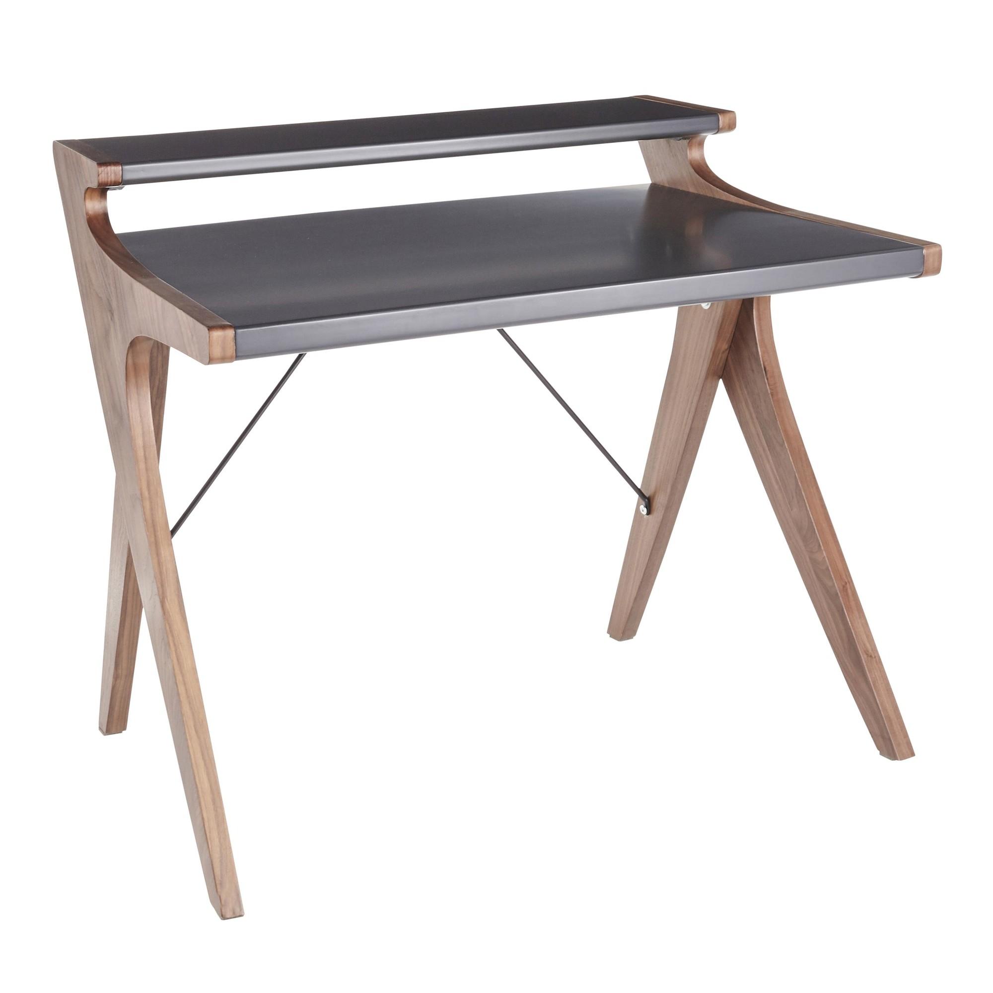 Archer Contemporary Desk in Walnut Wood w/ Grey Wood Top - Lumisource OFD-ARCHER WLGY