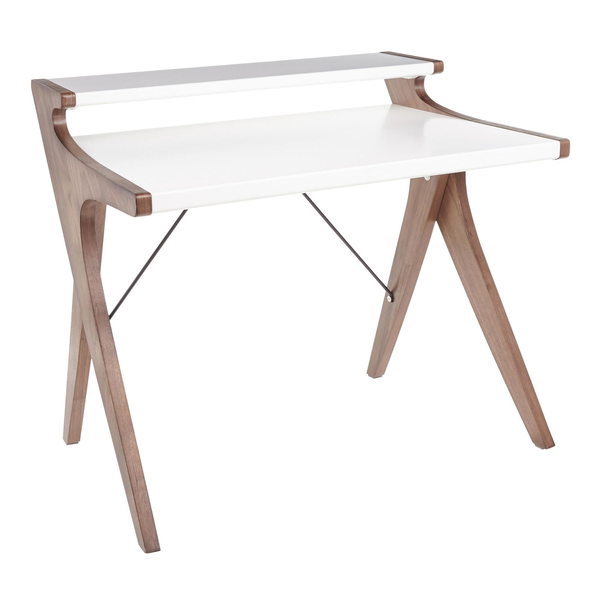 Archer Contemporary Desk in Walnut Wood w/ White Wood Top - Lumisource OFD-ARCHER WLW