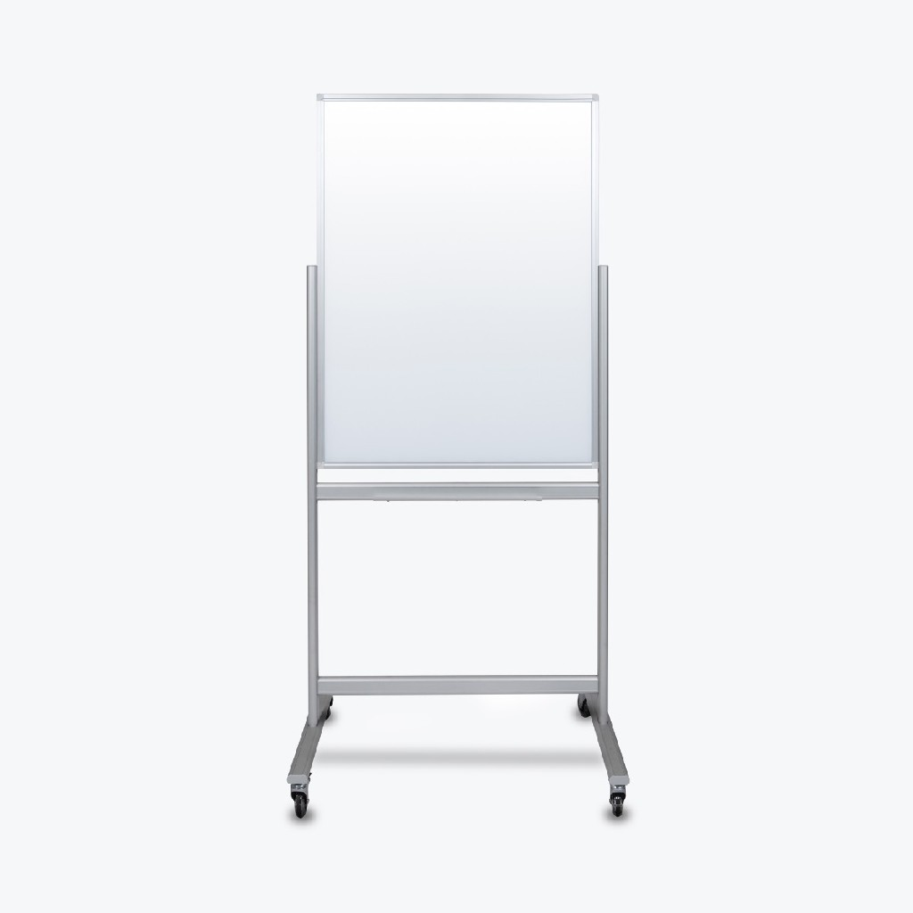 """30""""W x 40""""H Double-Sided Mobile Magnetic Glass Marker Board - Luxor MMGB3040"""