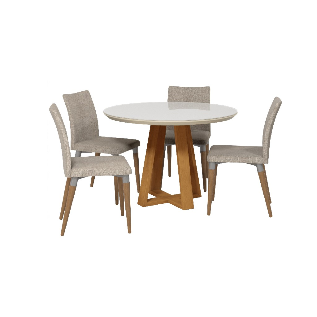 Manhattan Comfort Dining Table Round Charles Dining Chairs