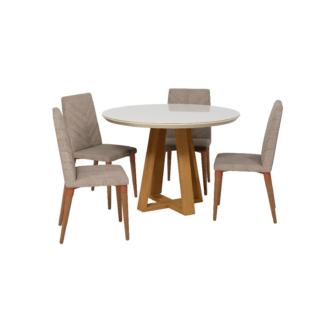 Manhattan Comfort Dining Table Round Dining Chairs