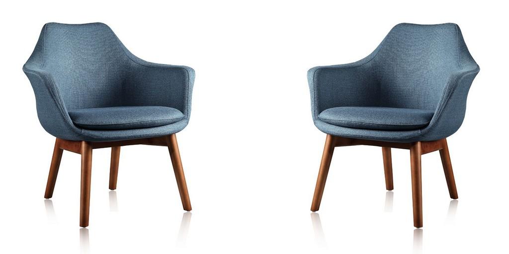 Manhattan Comfort Cronkite Blue Walnut Twill Accent Chair