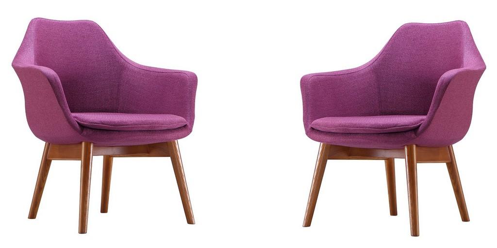 Manhattan Comfort Cronkite Plum Walnut Twill Accent Chair