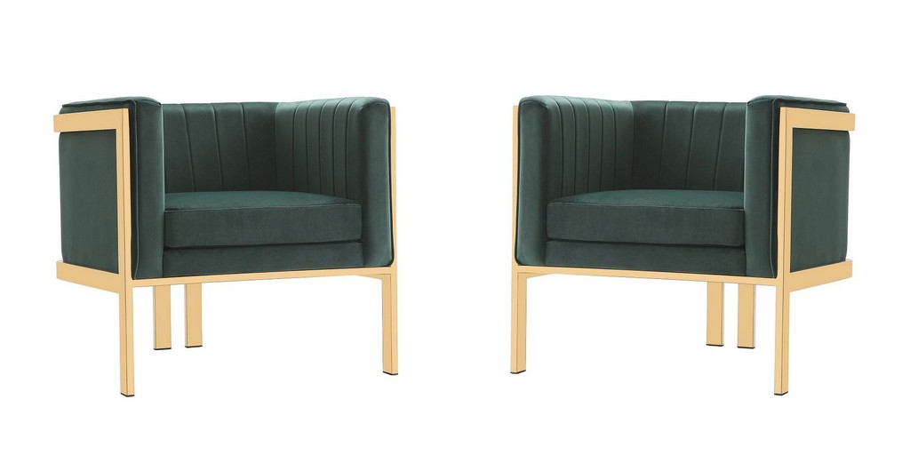 Paramount Forest Green Polished Brass Velvet Accent Armchair