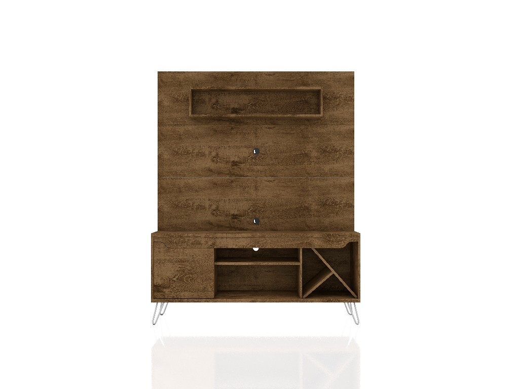 Baxter 53.54 Mid Century Modern Freestanding Entertainment Center with Media Shelves and Wine Rack in Rustic Brown - Manhattan Comfort 218BMC9
