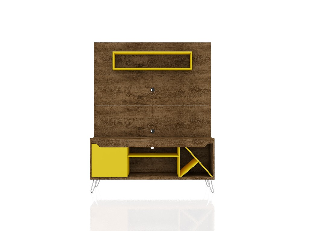 Baxter 53.54 Mid Century Modern Freestanding Entertainment Center with Media Shelves and Wine Rack in Rustic Brown and Yellow - Manhattan Comfort 218BMC94