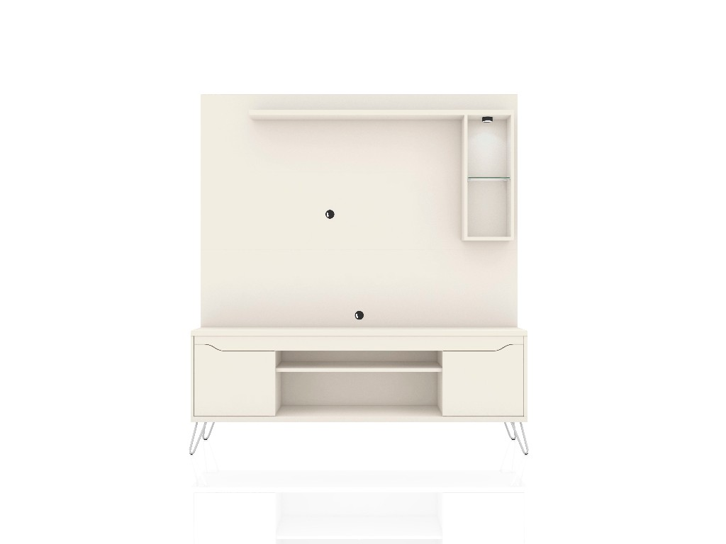 Baxter 62.99 Freestanding Mid Century Modern Entertainment Center with LED Lights and Décor Shelves in Off White - Manhattan Comfort 219BMC1