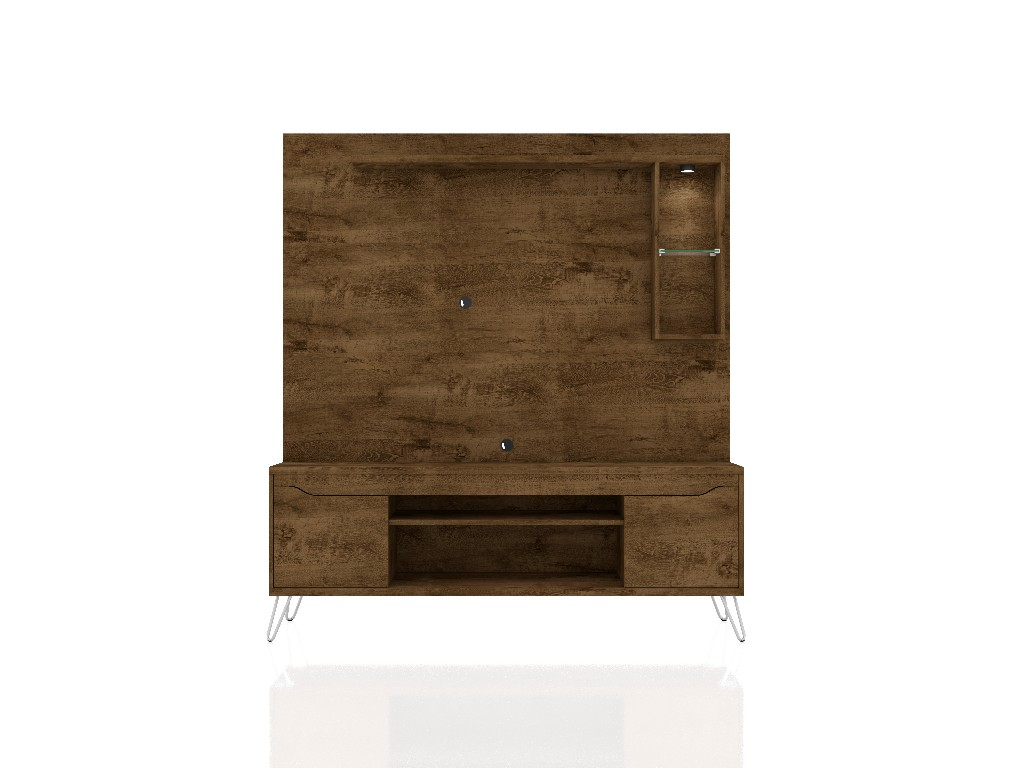 Baxter 62.99 Freestanding Mid Century Modern Entertainment Center with LED Lights and Décor Shelves in Rustic Brown - Manhattan Comfort 219BMC9
