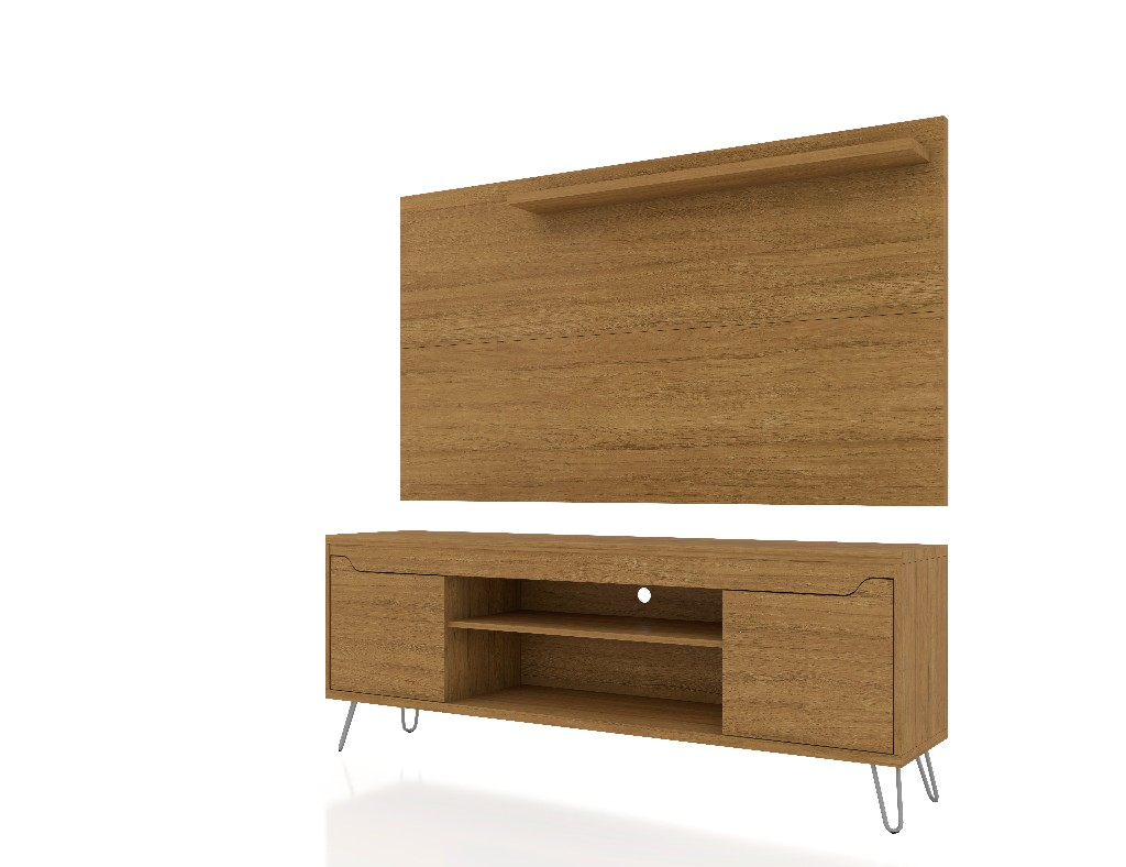Baxter 62.99 Mid Century Modern TV Stand and Liberty Panel with Media and Display Shelves in Cinnamon - Manhattan Comfort 221-217BMC2