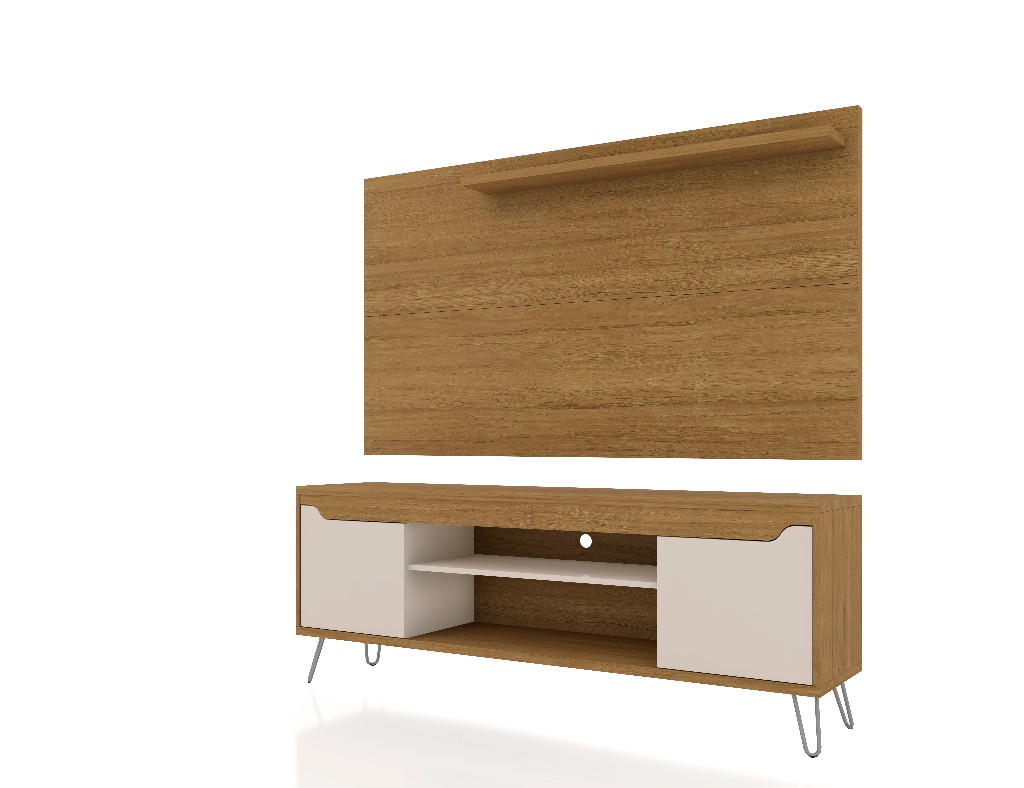 Baxter 62.99 Mid Century Modern TV Stand and Liberty Panel with Media and Display Shelves in Cinnamon and Off White - Manhattan Comfort 221-217BMC21