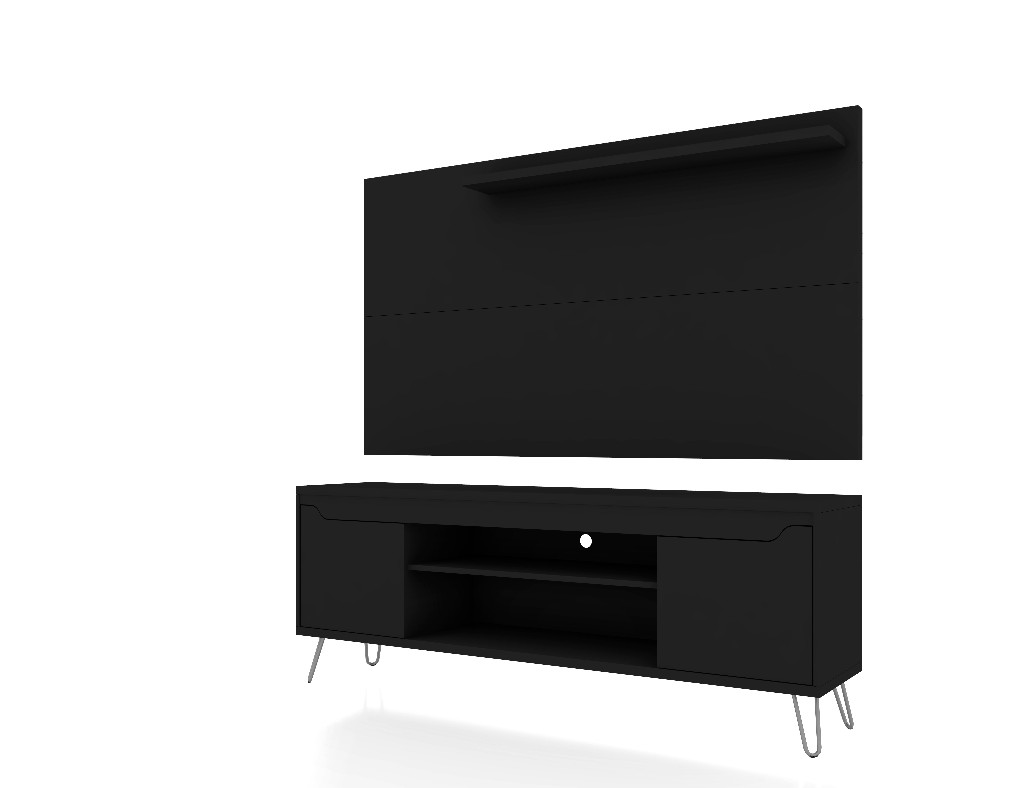 Baxter 62.99 Mid Century Modern TV Stand and Liberty Panel with Media and Display Shelves in Black - Manhattan Comfort 221-217BMC8