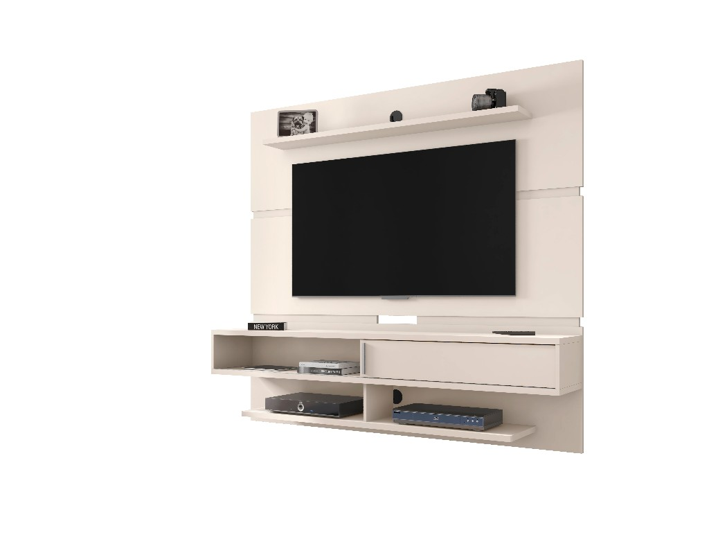 Astor 70.86 Modern Floating Entertainment Center 2.0 with Media and Décor Shelves in Off White - Manhattan Comfort 223BMC1