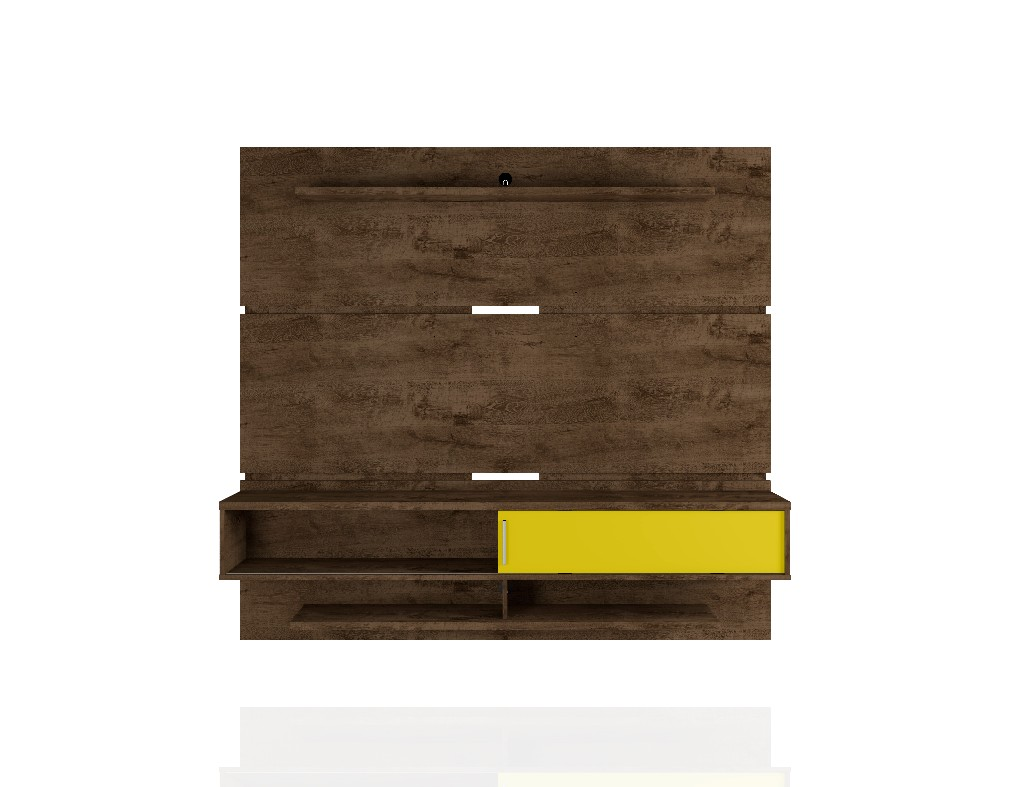 Astor 70.86 Modern Floating Entertainment Center 2.0 with Media and Décor Shelves in Rustic Brown and Yellow - Manhattan Comfort 223BMC94