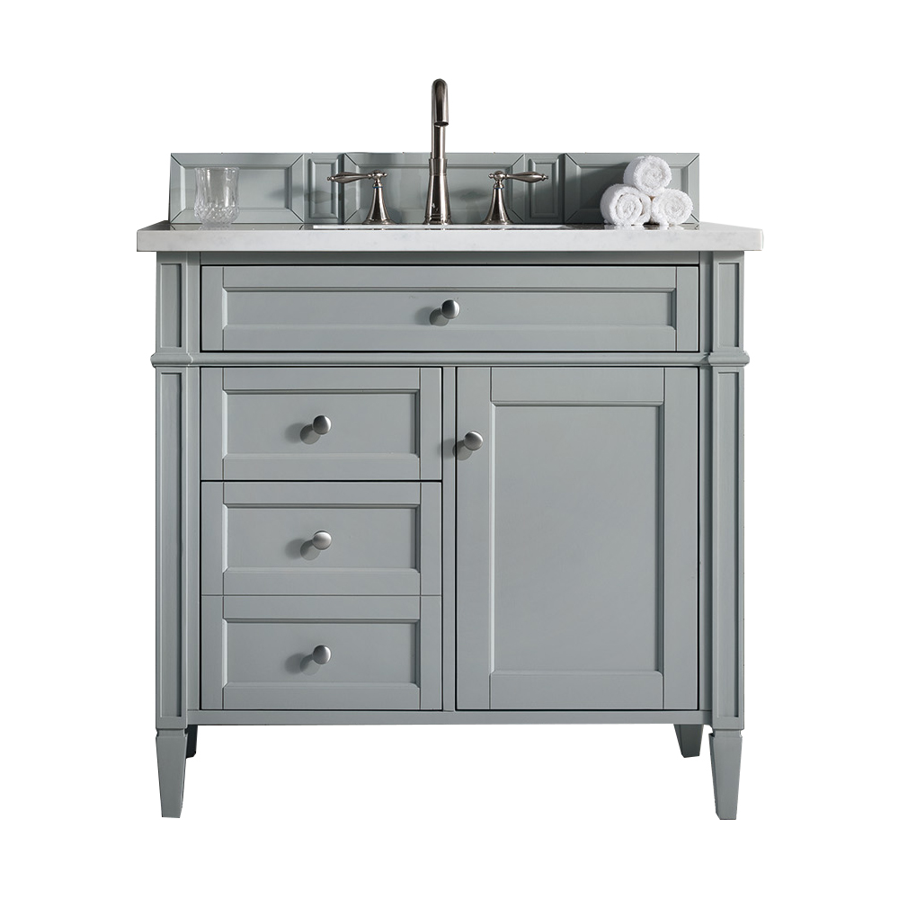 """Brittany 36"""" Urban Gray Single Vanity with 3 CM Arctic Fall Solid Surface Top - James Martin 650-V36-UGR-3AF"""