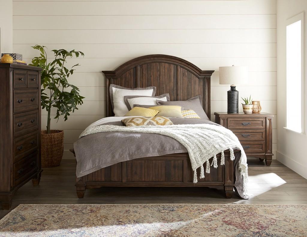 Queen Wood Storage Bed Burlap Modus