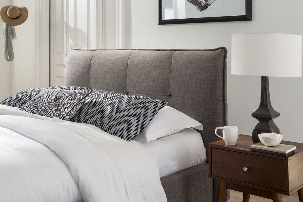 Adona California King-Size Upholstered Headboard in Dolphin Linen - Modus 3ZH3L6BH48