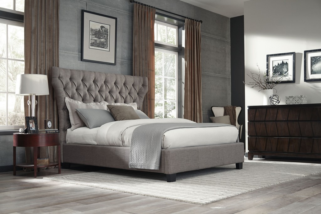 Modus King Upholstered Platform Bed Dolphin Linen Modus