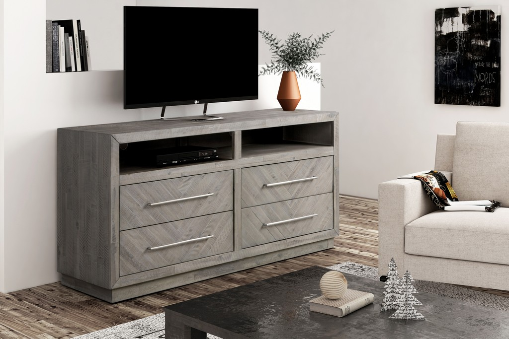 """Alexandra Solid Wood 64"""" Media Console in Rustic Latte - Modus 5RS32632"""
