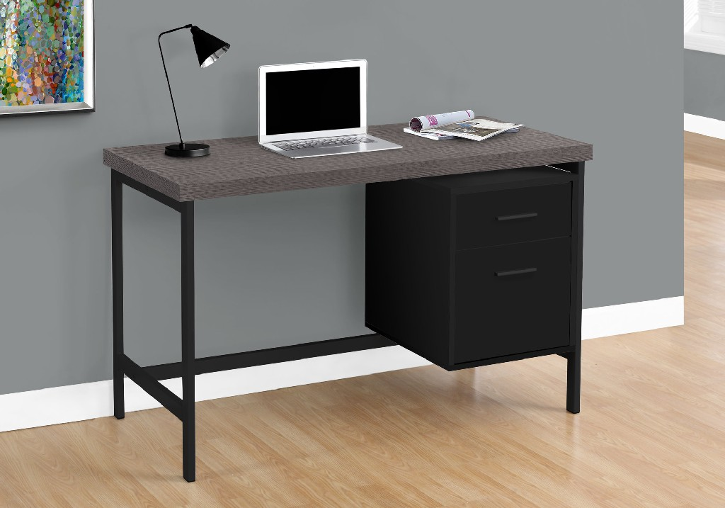 "48"" Computer Desk / Black / Grey Top / Black Metal - Monarch Specialties I-7437"