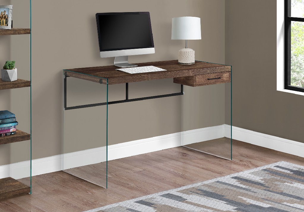 "48"" Computer Desk / Brown Reclaimed Wood/ Glass Panels - Monarch Specialties I-7444"