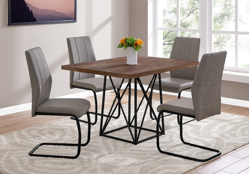36x48 Dining Table Only in Brown Reclaimed Wood-Look/Black - Monarch Specialties I-1107