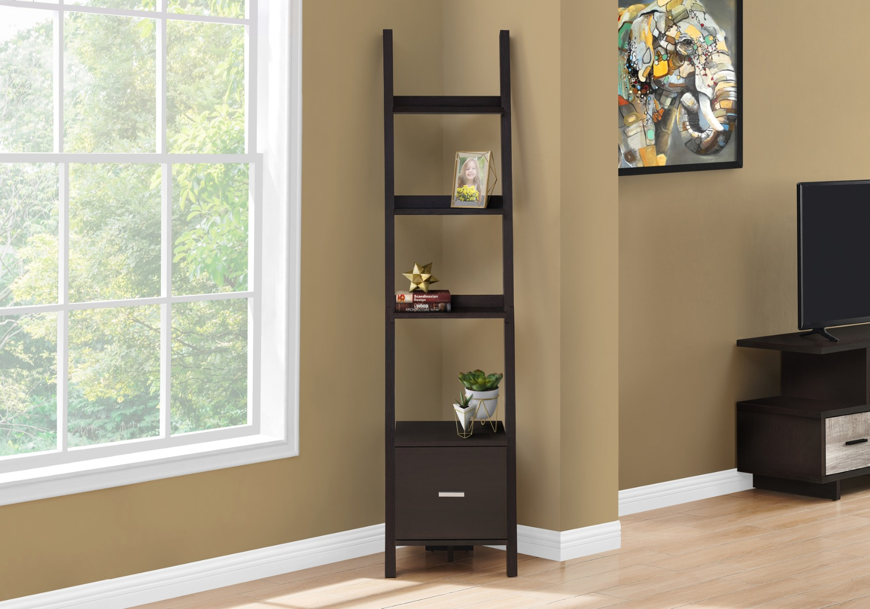 "69""H Cappuccino Bookcase / Etagere w/ Storage Drawer - Monarch Specialties I-2765"