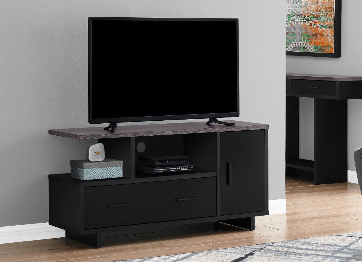 "48""L TV Stand w/ Storage in Black & Grey - Monarch Specialties I-2801"