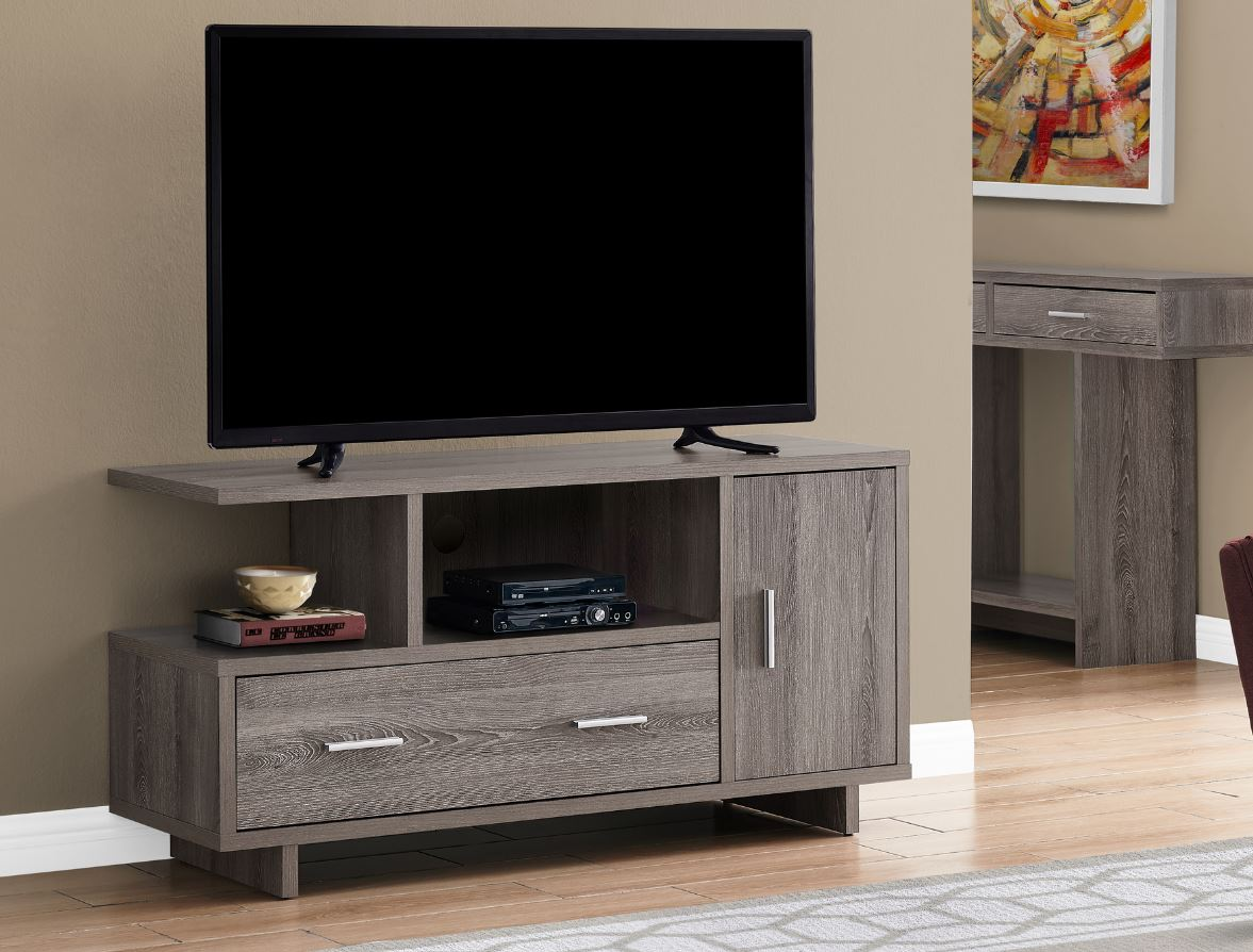 "48""L TV Stand w/ Storage in Black / Brown Reclaimed Wood-Look - Monarch Specialties I-2803"